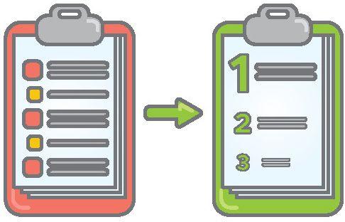 Links ist ein rotes Klemmbrett, rechts ein grünes Klemmbrett grafisch dargestellt. Auf dem linken Klemmbrett befinden sich in Stichpunkten aufgelistete Notizen, auf dem rechten Klemmbrett, zu dem ein Pfeil vom linken Klemmbrett hinführt, sind 3 Stichworte aufgelistet, welche nummeriert sind und von oben nach unten kleiner werden.