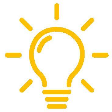 Zeichnung einer Glühbirne.