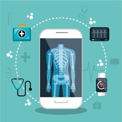 Grafisch dargestellt wird ein Smartphone, auf welchem das Bild eines menschlichen Skeletts zu sehen ist. Das Smartphone wird umrandet von einem Kreis, auf dem Symbole, welche in Zusammenhang mit Medizin stehen, dargestellt sind, so wie ein Arztkoffer, EKG-Werte, ein Pulsometer und ein Stethoskop.